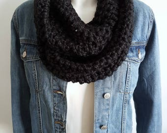 Crochet Infinity scarf, loop scarf, circle scarf, black scarf, vegan scarf, chunky scarf, statement scarf