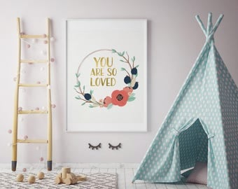 you are so loved print, navy coral nursery print, mint navy nursery wall art girl, mint gold coral nursery decor, coral mint gold baby girl