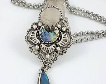 LaoOne * sterling silver necklace * stunning Opal Moon dream