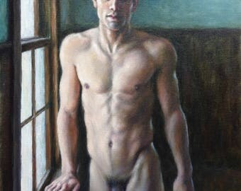 """Male Nude, Original Oil Painting, """"Man by a Window"""", Male Figurative Art, Handsome Man Portrait, Contemporary Realist, 16x12"""