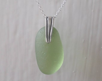 Green Sea Glass Sterling Silver Necklace, Pendant, Seaglass, Seaglass Necklace, Beach Glass, Lime, Beach Jewelry, Sea Glass Pendant, Seaham