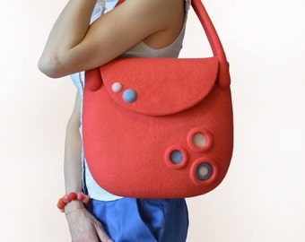 Сoral Blue Wool Handbag, Hand Felted Fashion Summer Bright Bag, Ready To Ship
