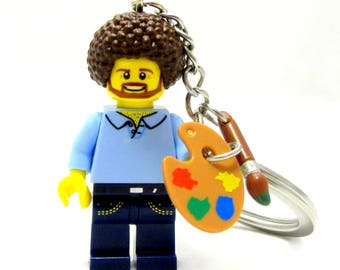 Happy Little Painter Custom Figure, Keychain OR Necklace - Fan Art Crafted With LEGO® Elements
