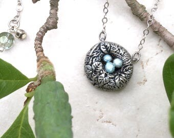 Bird Nest Necklace, Gold Birds Nest Charm, Silver Bird Nest Jewelry, Nature Jewellery, Woodland Necklace, Robins Nest Pendant, Robins Egg