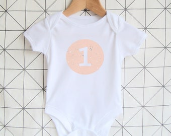 1st Birthday Bodysuit / 1st Birthday Shirt / First Birthday Onesie / Cake Smash Outfit / 1 Today / Kids Birthday Gift / Pink and White