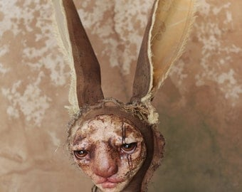 HAFNAR - easter - hare - rabbit - art doll - ooak - textile art - solf sculpture - original - figurative art - collectible doll - curiosity