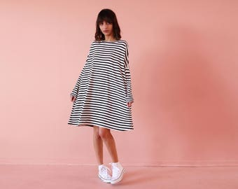 Women casual dress, knee length dress, oversize dress, oversize tunic, day dress, A-line dress, striped dress, loose fit dress