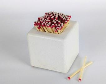 Concrete Matchstick Holder / Fireplace Match Holder / Matchstick Jar / Matchstick Box / Strike Anywhere Matches / Match Striker Holder