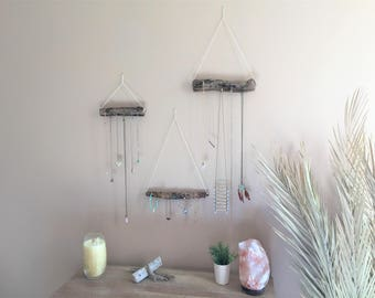 Set of 3 Jewelry Organizer Holder Driftwood Hanging Hanger Display Hooks Boho Bohemian Necklace Rustic Wall Decor Mount Rope Gift Idea