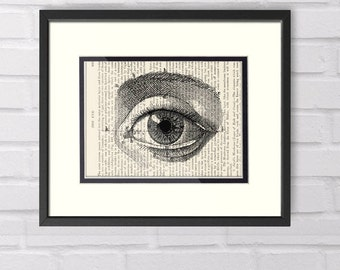 Optometrist Gift, Vintage Eye Art over Vintage Medical Book Page - Optometry, Optometrist, Graduation Gift, Office Decor