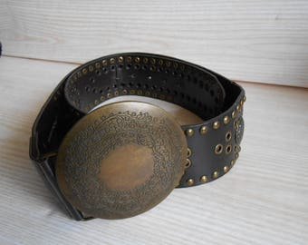 Vintage Black Tooled Leather Belt, 70s Tooled Leather Belt, Women's Leather Belt