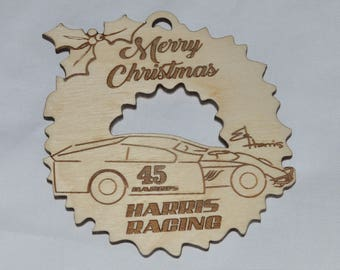 Personalized Race Car Christmas Tree Ornaments