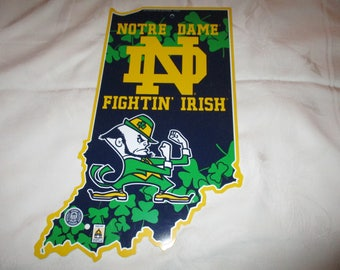 Notre Dame Fightin' Irish State Shaped Sign