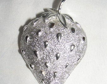 Silver Tone Vintage Sarah Coventry Strawberry Brooch