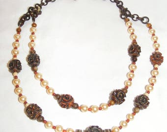 Vintage Carved Celluloid and Faux Pearl 2 Strand Necklace