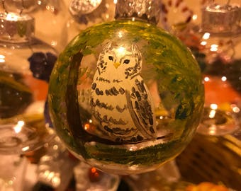 Owl hand painted ornament