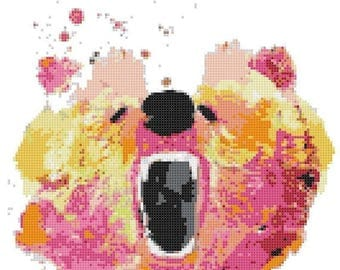 Watercolor bear Cross Stitch Pattern Watercolor pattern needlepoint needlecraft -128x150 stitches- INSTANT Download - B1499