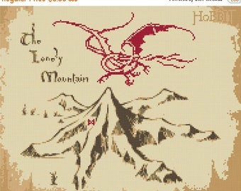 Lonely Mountain Cross Stitch Pattern Smaug hobbit pattern hobbit cross stitch -276 x 386 stitches- Instant Download - B1014