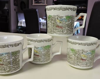 Enoch Wedgwood Tunstal Shakespeare's Sonnets Brown Multi Color 4 Cups