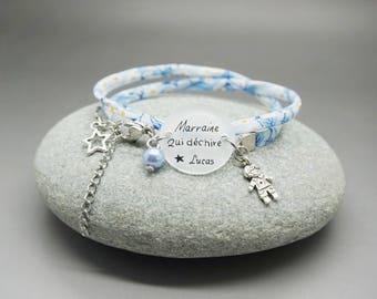 """bracelet bleu liberty cabochon """"Marraine qui déchire + prénom"""" bleu garçon - cadeau personnalisable - godmother  madrina"""