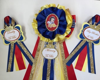Snow White inspired baby shower corsage/Snow White baby shower/Girl Baby shower corsage/