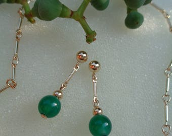 Gold Earrings with green Onyx, 585 gold filled