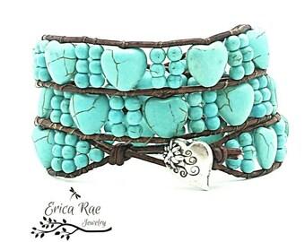 Turquoise leather wrap bracelet, turquoise heart bracelet, beaded wrap, boho jewelry, boho bracelet, western bracelet, howlite gemstone wrap