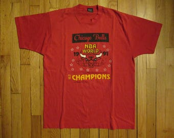 Vintage 1991 NBA Chicago Bulls Champions Screen Stars T Shirt Size XL 90s Jordan
