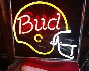 1960's Budweiser helmet neon sign
