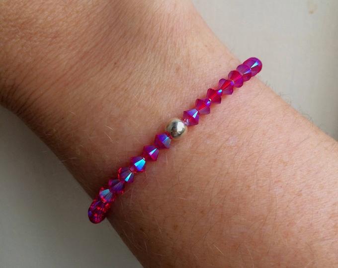 Siam Red AB Swarovski crystal stretch bracelet - Sterling Silver or Gold Fill bead