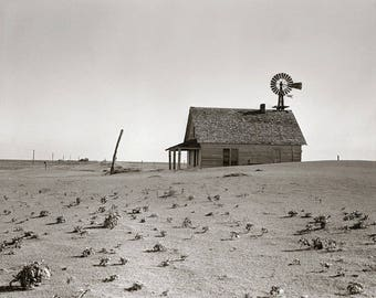 Dust Bowl Farm, 1938. Vintage Photo Reproduction Print. 8x10 Black & White Photograph. Texas, Windmill, Desolate, Abandoned, 1930s, 30s.