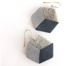 Cube earrings - handmade with polymer clay and sterling silver wire