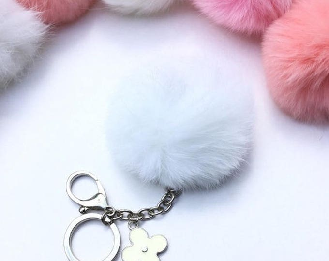 Silver Summer Series white Rabbit fur pompom keychain ball with flower bag charm