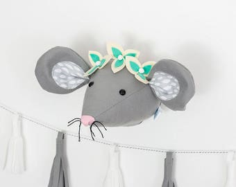 Nursery wall art, woodland nursery, felt flowers, mouse wall art,  mouse head, woodland animals, mouse, baby room, girls bedroom, felt mouse