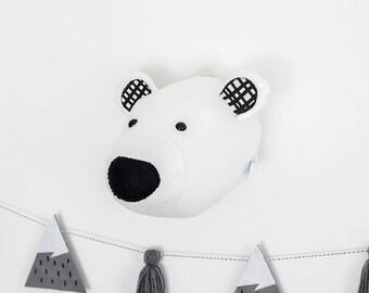 Felt polar bear, kids room decor,polar bear head, plush, stuffed animal, animal mount, nursery wall art, nursery decor, childrens bedroom