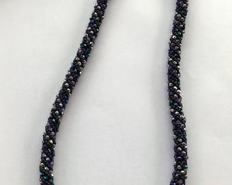 Purple and blue Russian Spiral necklace