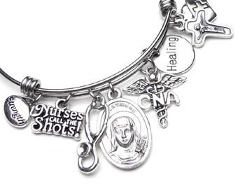 CNA Nurses Patron Saint St. Catherine Catholic Holy Medal Charm Bangle Bracelet, Stainless Steel Devotional Jewelry, Healing