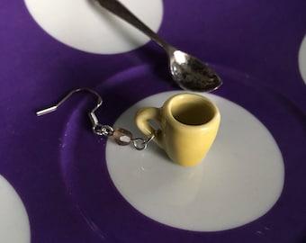 Tiny tea cup and spoon asymmetric  earrings.