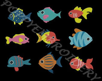 FISH Design for Embroidery machine  /poisson motifs pour broderie machine / instant download