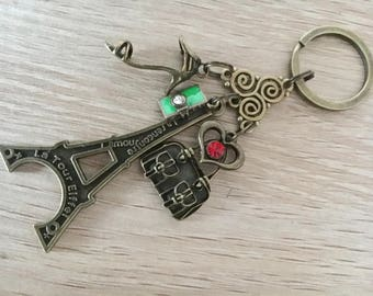 Vintage Style Antique Alloy Metal Bronze Eiffel Tower French Paris Keyring Keychain