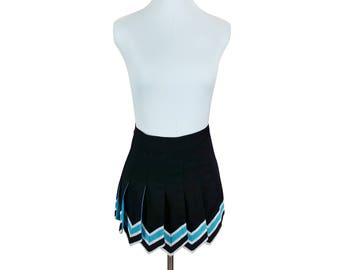 Extra Small Cheerleading Skirt / cheer skirt cheerleader vintage 90s sports athletic open pleats dancer black blue silver school uniform