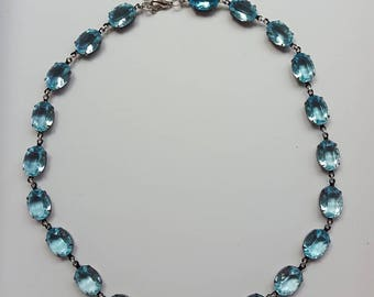 Aquamarine glass crystal riviere necklace, blue collet necklace, blue crystal choker, aquamarine Georgian paste necklace,blue glass paste