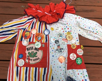 Vintage Clown Suit with Suitcase of Clown Supplies Circus Parade Creepy Clown