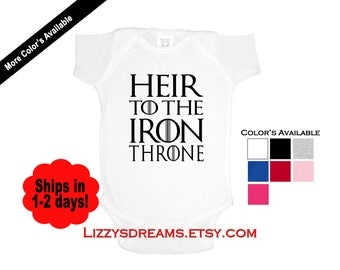 Game of Thrones Style Baby Bodysuit Heir to the Iron Throne