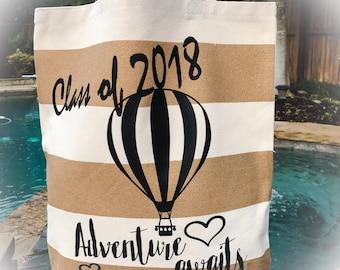 Graduation Tote Bag - Personalized Canvas Tote Bag - Striped Canvas Tote Bag - Personalized Graduation Tote Bag