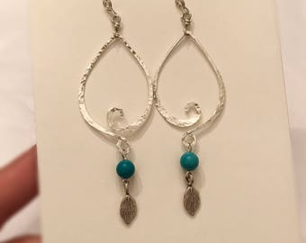 Textured hammered sterling silver wire dangling earrings handmade with turquoise beads and sterling silver charms