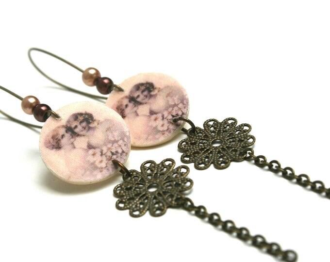 Vintage earrings natural wood, print ladies sepia engraving filigree bronze brass chain