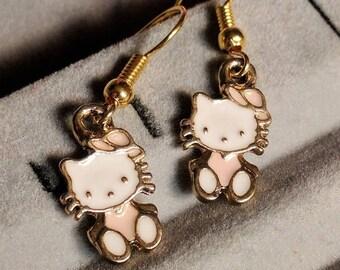 Pink Cat Earrings - Kitty Earrings