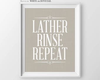 Bathroom Signs Lather Rinse Repeat Bathroom Wall Decor Toilet Sign Bathroom Decor Bathroom Print Guest Bathroom Toilet Sign Bathroom Quote
