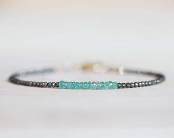 Delicate Pyrite Bracelet with Zambian Emerald, Skinny Pyrite Beaded Stacking Bracelet, Sterling Silver or Rose Gold Fill, Pyrite Jewelry